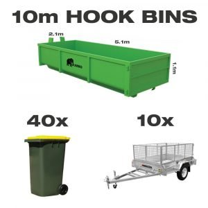 10m hook bin for hire in Brisbane next to trailer and wheelie bin to demonstrate greater carrying capacity and size