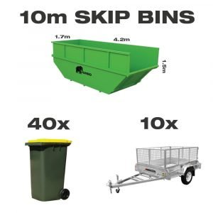 10m skip bin for hire in Brisbane next to trailer and wheelie bin to demonstrate greater carrying capacity and size
