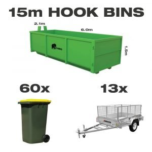 15m hook bin for hire in Brisbane next to trailer and wheelie bin to demonstrate greater carrying capacity and size