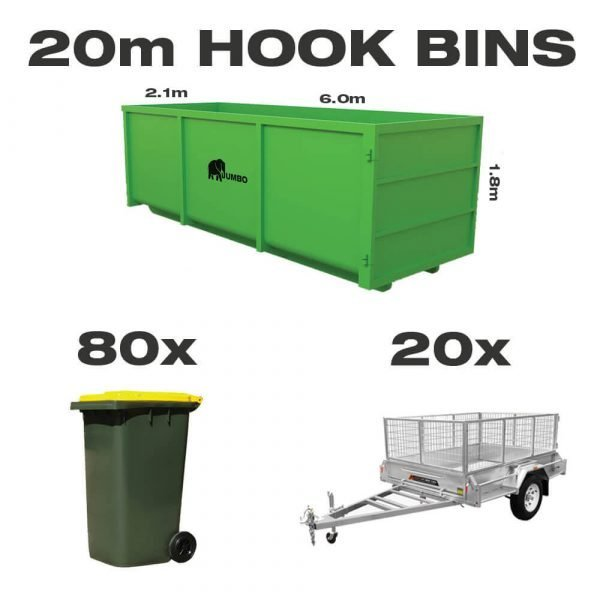 20m hook bin for hire in Brisbane next to trailer and wheelie bin to demonstrate greater carrying capacity and size