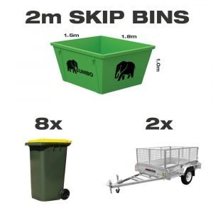 2m skip bin for hire in Brisbane next to trailer and wheelie bin to demonstrate greater carrying capacity and size