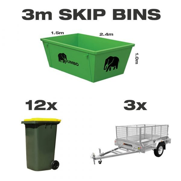 3m skip bin for hire in Brisbane next to trailer and wheelie bin to demonstrate greater carrying capacity and size