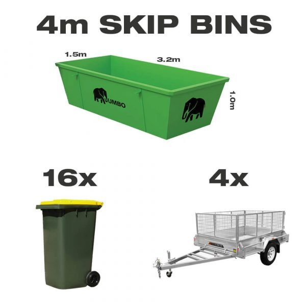 4m skip bin for hire in Brisbane next to trailer and wheelie bin to demonstrate greater carrying capacity and size
