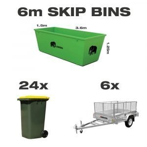 6m skip bin for hire in Brisbane next to trailer and wheelie bin to demonstrate greater carrying capacity and size