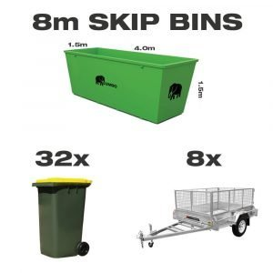 8m skip bin for hire in Brisbane next to trailer and wheelie bin to demonstrate greater carrying capacity and size